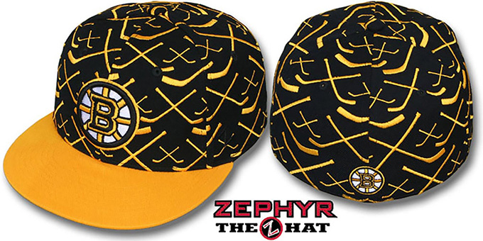 Bruins '2T TOP-SHELF' Black-Gold Fitted Hat by Zephyr : pictured without stickers that these products are shipped with