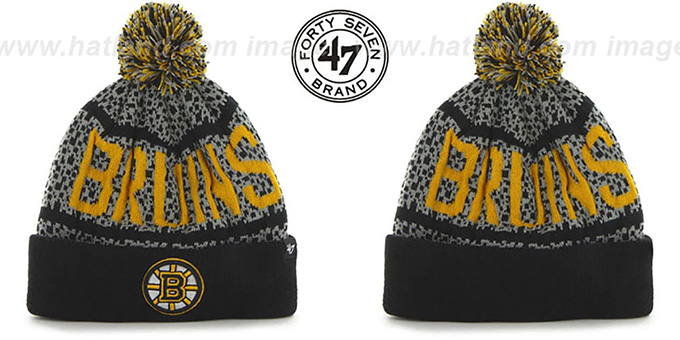 Bruins 'BEDROCK' Black-Grey Knit Beanie Hat by Twins 47 Brand : pictured without stickers that these products are shipped with