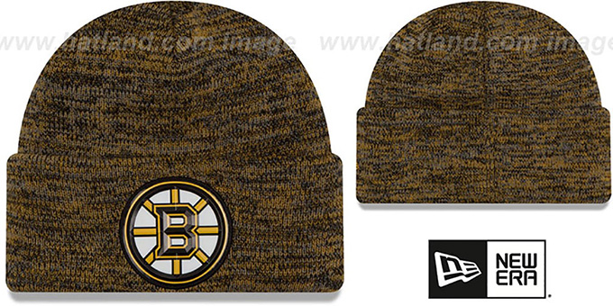 Bruins 'BEVEL' Gold-Black Knit Beanie Hat by New Era
