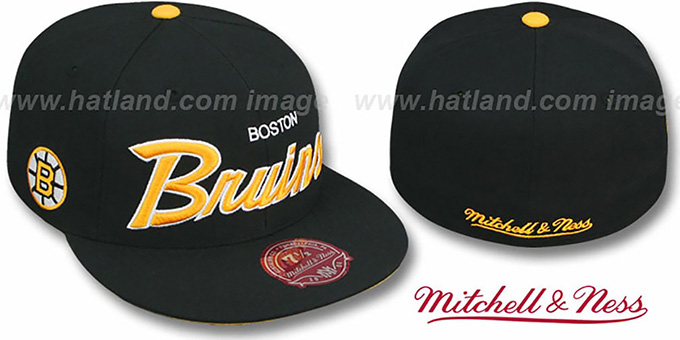 Bruins 'CLASSIC-SCRIPT' Black Fitted Hat by Mitchell & Ness : pictured without stickers that these products are shipped with