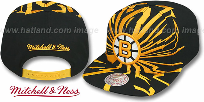 Bruins 'EARTHQUAKE SNAPBACK' Black Hat by Mitchell and Ness : pictured without stickers that these products are shipped with