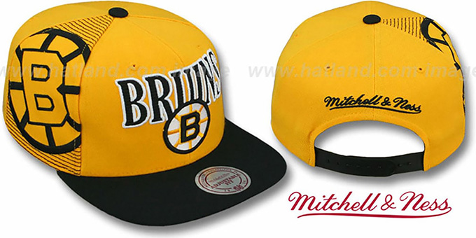 Bruins 'LASER-STITCH SNAPBACK' Gold-Black Hat by Mitchell & Ness : pictured without stickers that these products are shipped with