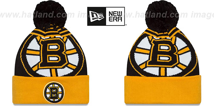 Bruins 'LOGO WHIZ' Black-Gold Knit Beanie Hat by New Era : pictured without stickers that these products are shipped with