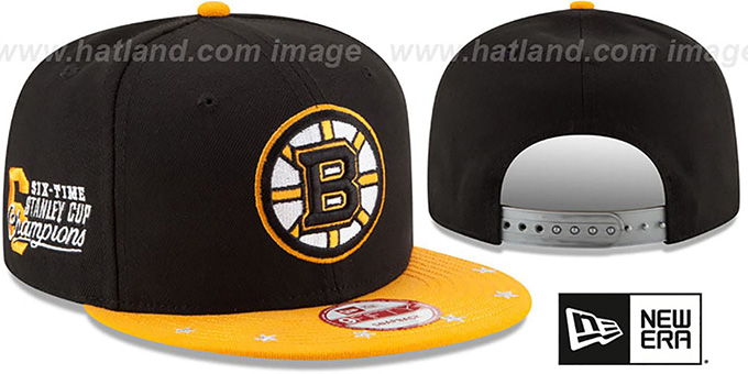 Bruins 'NHL STAR-TRIM SNAPBACK' Black-Gold Hat by New Era : pictured without stickers that these products are shipped with