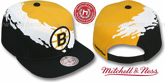 Bruins 'PAINTBRUSH SNAPBACK' Gold-White-Black Hat by Mitchell & Ness : pictured without stickers that these products are shipped with