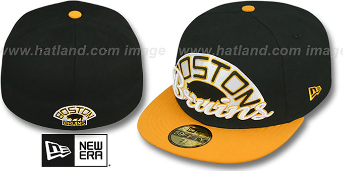 Bruins 'SCRIPT-PUNCH' Black-Gold Fitted Hat by New Era : pictured without stickers that these products are shipped with
