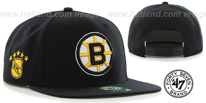 Bruins 'SURE-SHOT SNAPBACK' Black Hat by Twins 47 Brand : pictured without stickers that these products are shipped with