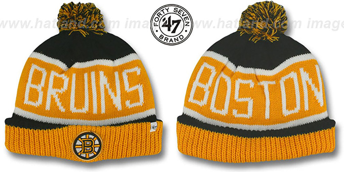 Bruins  THE-CALGARY  Gold-Black Knit Beanie Hat by Twins ... 7a998379f85