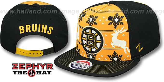 4e2f8ecc0f5 Bruins UGLY SWEATER SNAPBACK Black-Gold Hat by Zephyr