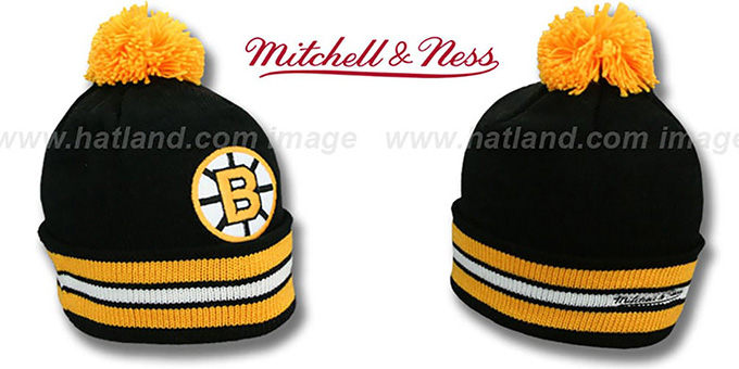 Bruins 'XL-LOGO BEANIE' Black by Mitchell and Ness : pictured without stickers that these products are shipped with