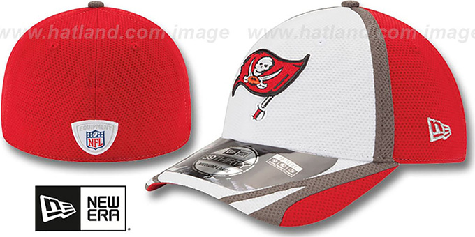 Buccaneers '2014 NFL TRAINING FLEX' White Hat by New Era : pictured without stickers that these products are shipped with
