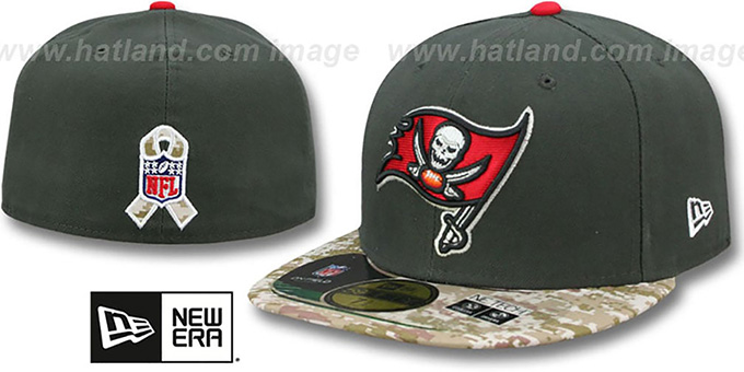 Buccaneers '2014 SALUTE-TO-SERVICE' Grey-Desert Fitted Hat by New Era : pictured without stickers that these products are shipped with