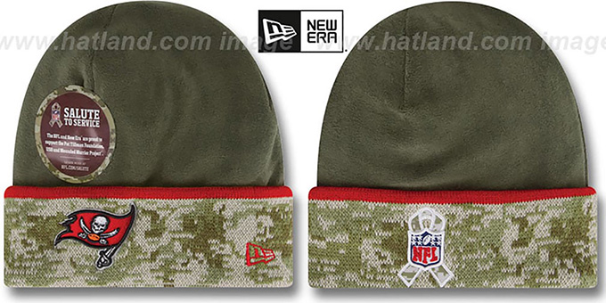 Buccaneers '2014 SALUTE-TO-SERVICE' Knit Beanie Hat by New Era : pictured without stickers that these products are shipped with