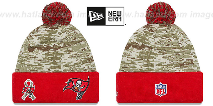 Buccaneers '2015 SALUTE-TO-SERVICE' Knit Beanie Hat by New Era : pictured without stickers that these products are shipped with