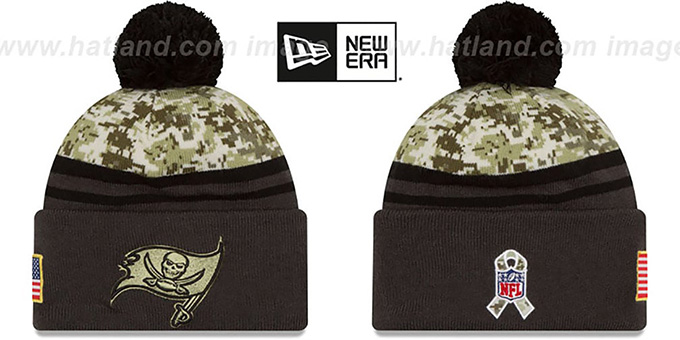 Buccaneers '2016 SALUTE-TO-SERVICE' Knit Beanie Hat by New Era : pictured without stickers that these products are shipped with