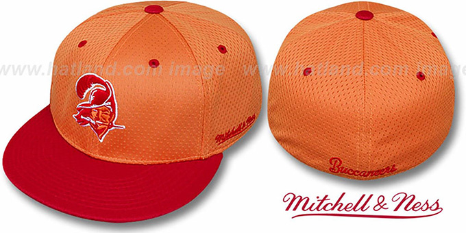 Buccaneers '2T BP-MESH' Orange-Red Fitted Hat by Mitchell & Ness : pictured without stickers that these products are shipped with