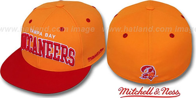 Buccaneers '2T CLASSIC-ARCH' Orange-Red Fitted Hat by Mitchell & Ness : pictured without stickers that these products are shipped with