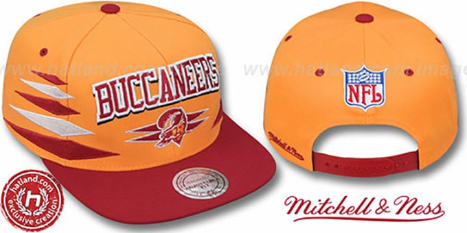 Buccaneers '2T DIAMONDS SNAPBACK' Orange-Red Adjustable Hat by Mitchell & Ness : pictured without stickers that these products are shipped with