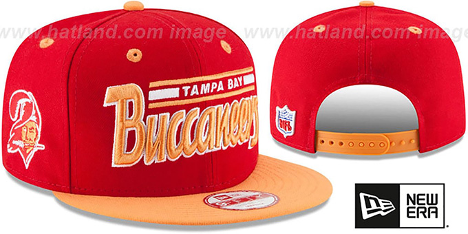 Buccaneers '2T RETRO-SCRIPT SNAPBACK' Red-Orange Hat by New Era : pictured without stickers that these products are shipped with