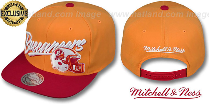 Buccaneers '2T VICE SNAPBACK' Orange-Red Adjustable Hat by Mitchell & Ness : pictured without stickers that these products are shipped with