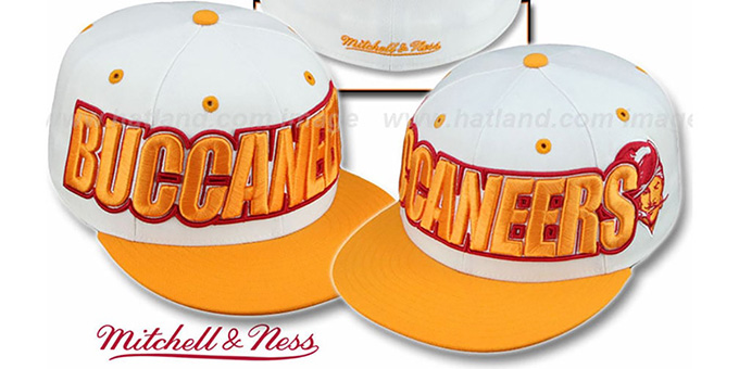 Buccaneers '2T WORDMARK' White-Orange Fitted Hat by Mitchell & Ness : pictured without stickers that these products are shipped with