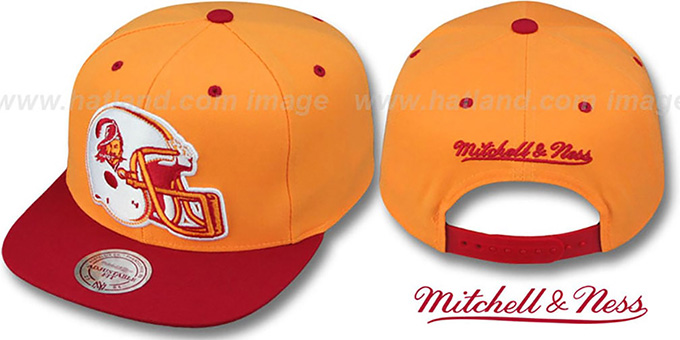 Buccaneers '2T XL-HELMET SNAPBACK' Orange-Red Adjustable Hat by Mitchell & Ness : pictured without stickers that these products are shipped with