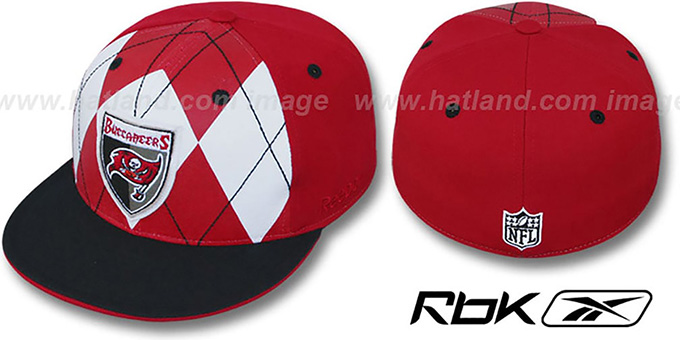 Buccaneers 'ARGYLE-SHIELD' Red-Black Fitted Hat by Reebok : pictured without stickers that these products are shipped with