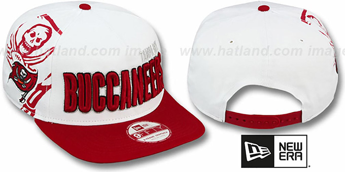Buccaneers 'BIGSIDE A-FRAME SNAPBACK' White-Red Hat by New Era : pictured without stickers that these products are shipped with