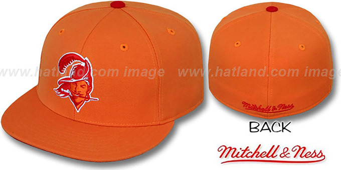 Buccaneers 'CLASSIC THROWBACK' Orange Fitted Hat by Mitchell & Ness : pictured without stickers that these products are shipped with