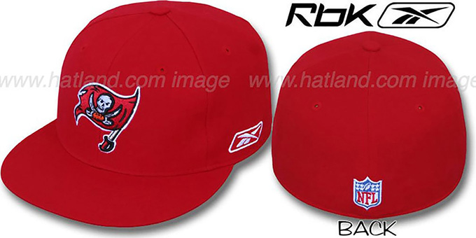 Buccaneers 'COACHES' Red Fitted Hat by Reebok : pictured without stickers that these products are shipped with