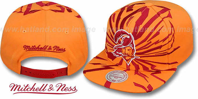 Buccaneers 'EARTHQUAKE SNAPBACK' Orange Hat by Mitchell & Ness : pictured without stickers that these products are shipped with