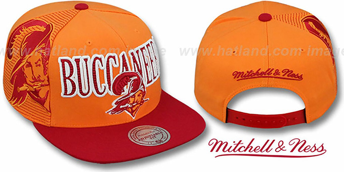 Buccaneers 'LASER-STITCH SNAPBACK' Orange-Red Hat by Mitchell & Ness : pictured without stickers that these products are shipped with