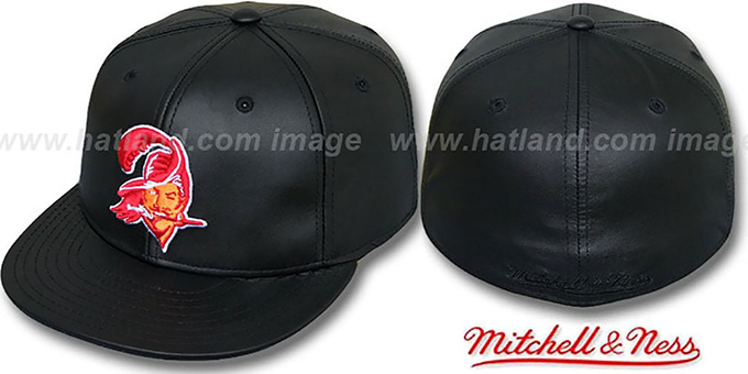 Buccaneers 'LEATHER THROWBACK' Fitted Hat by Mitchell and Ness : pictured without stickers that these products are shipped with