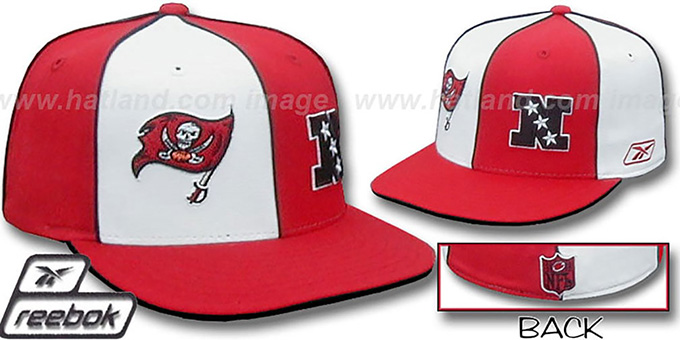 Buccaneers 'NFC DOUBLE LOGO' White-Red Fitted Hat by Reebok : pictured without stickers that these products are shipped with