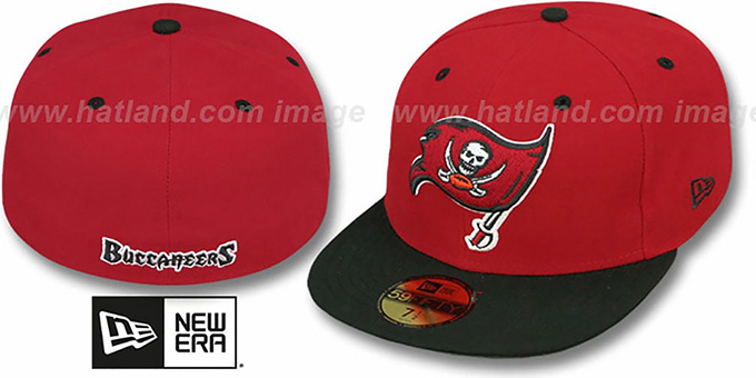 Buccaneers 'NFL 2T-TEAM-BASIC' Red-Black Fitted Hat by New Era : pictured without stickers that these products are shipped with