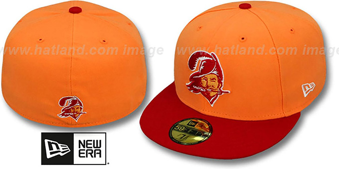 Buccaneers 'NFL 2T THROWBACK TEAM-BASIC' Orange-Red Fitted Hat by New Era : pictured without stickers that these products are shipped with