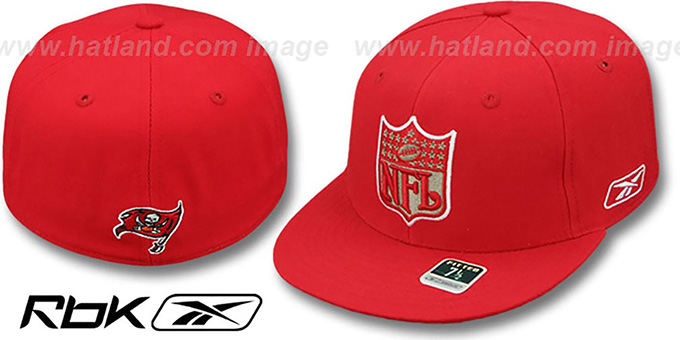 Buccaneers 'NFL-SHIELD' Red Fitted Hat by Reebok : pictured without stickers that these products are shipped with