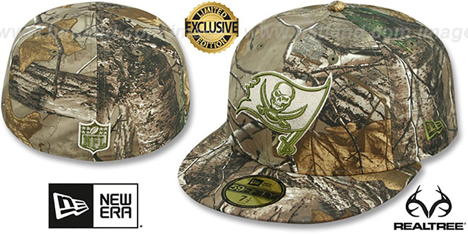 Buccaneers 'NFL TEAM-BASIC' Realtree Camo Fitted Hat by New Era : pictured without stickers that these products are shipped with