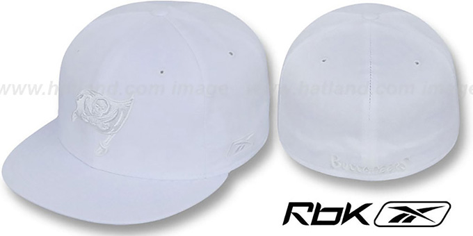 Buccaneers 'NFL-WHITEOUT' Fitted Hat by Reebok : pictured without stickers that these products are shipped with