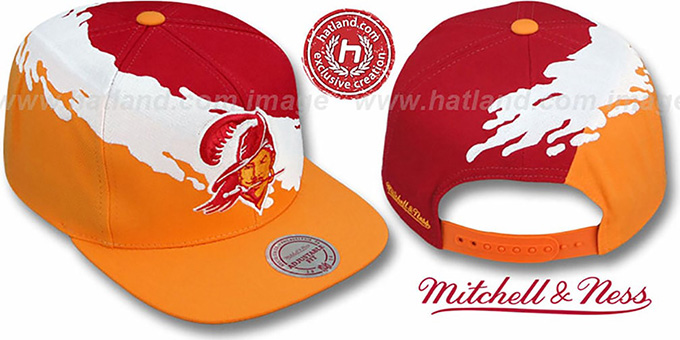 Buccaneers 'PAINTBRUSH SNAPBACK' Red-White-Orange Hat by Mitchell & Ness : pictured without stickers that these products are shipped with