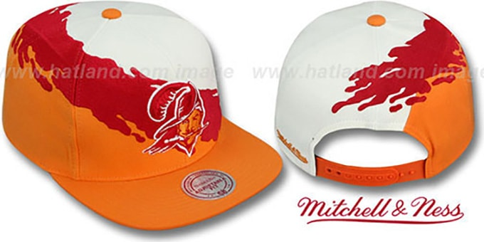 Buccaneers 'PAINTBRUSH SNAPBACK' White-Red-Orange Hat by Mitchell & Ness : pictured without stickers that these products are shipped with