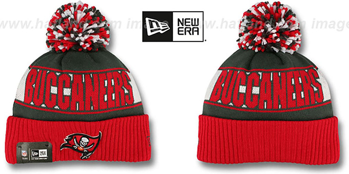 Buccaneers 'REP-UR-TEAM' Knit Beanie Hat by New Era : pictured without stickers that these products are shipped with