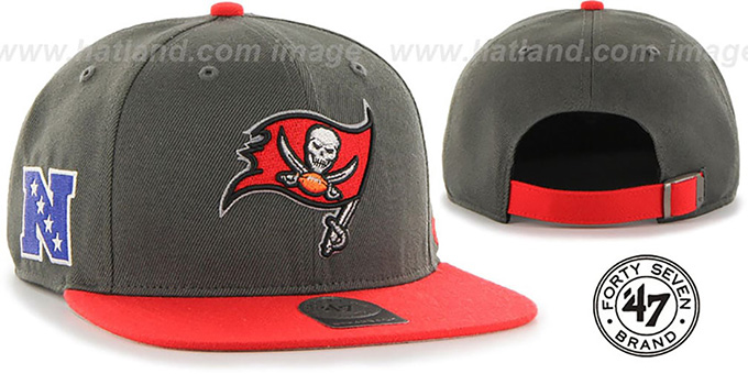 Buccaneers 'SUPER-SHOT STRAPBACK' Grey-Red Hat by Twins 47 Brand : pictured without stickers that these products are shipped with