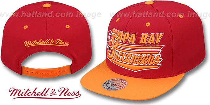 1a82ffb3b52c5 Buccaneers  TAILSWEEP SNAPBACK  Red-Orange Hat by Mitchell ...