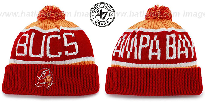 Buccaneers 'THE-CALGARY THROWBACK' Red-Orange Knit Beanie Hat by Twins 47 Brand : pictured without stickers that these products are shipped with