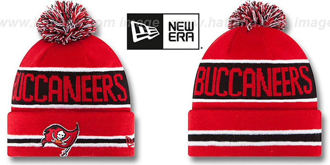 Buccaneers 'THE-COACH' Red Knit Beanie Hat by New Era : pictured without stickers that these products are shipped with