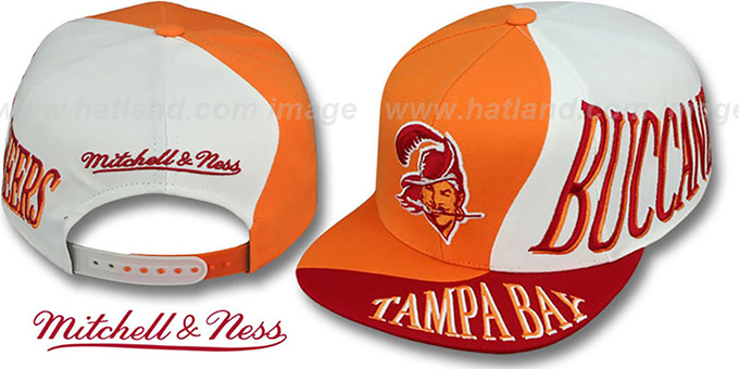 Buccaneers 'THE SKEW SNAPBACK' Hat by Mitchell & Ness : pictured without stickers that these products are shipped with
