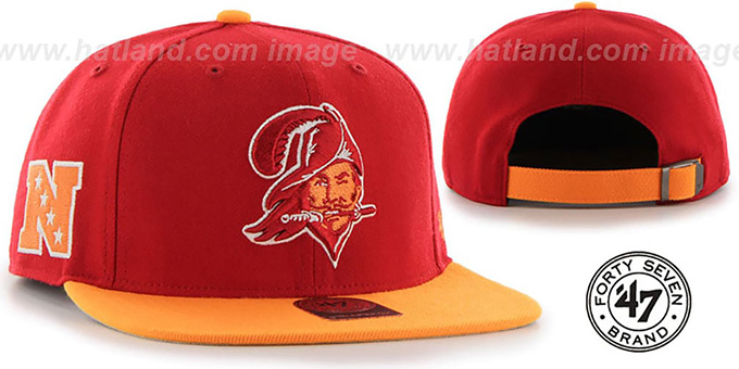 Buccaneers 'THROWBACK SUPER-SHOT STRAPBACK' Red-Orange Hat by Twins 47 Brand : pictured without stickers that these products are shipped with