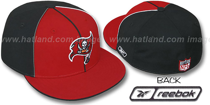 Buccaneers 'TRI PIPING PINWHEEL' Red Black Fitted Hat by Reebok : pictured without stickers that these products are shipped with