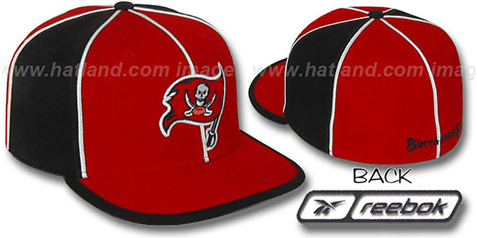 Buccaneers 'WILDSIDE' Red-Black Fitted Hat by Reebok : pictured without stickers that these products are shipped with